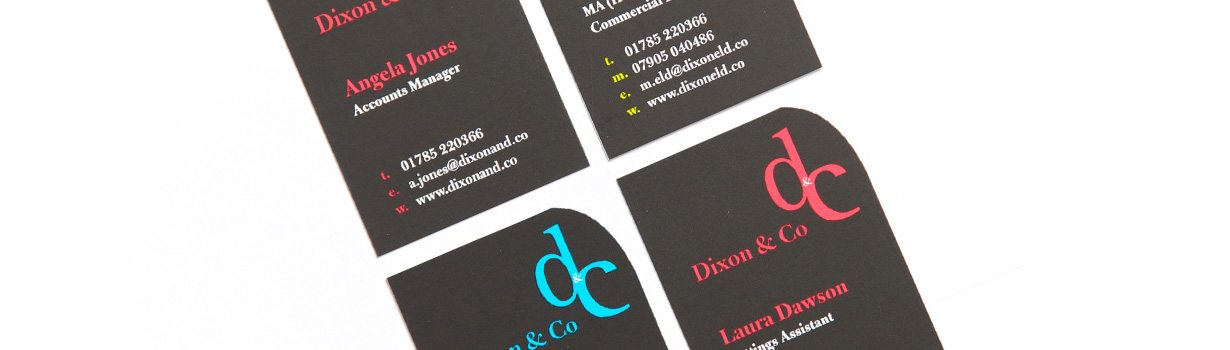 Die cut litho business cards for Stafford estate agency