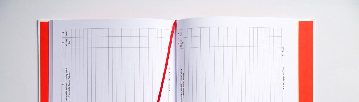 Printed log book for Staffordshire Fire and Rescue