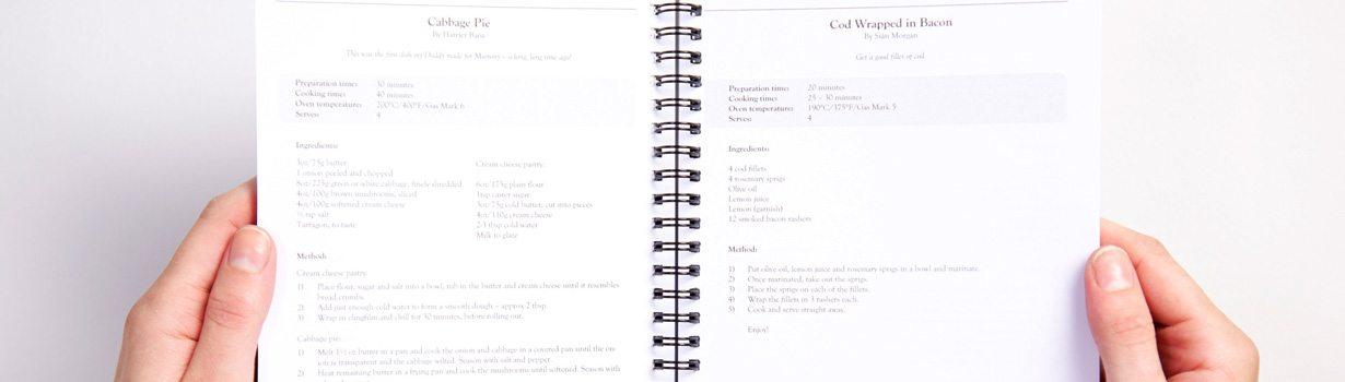 Bespoke printed cookbook for Staffordshire school Yarlet