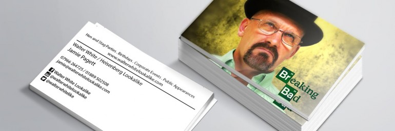 Business cards designed and printed for Walter White lookalike Jamie Paggett