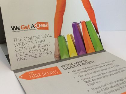 Bespoke printed leaflet for deal website