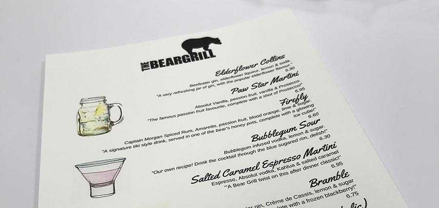 Printed Waterproof drinks menu