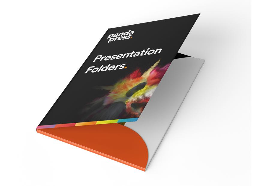 Panda Press presentation folders, a4, a5, bespoke, matt or gloss laminated, 3mm or 5mm capacity, pocket, business card slits