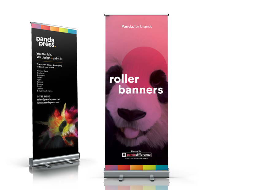 Panda Press printed roller banner 850 wide in cassette stand full colour including artwork